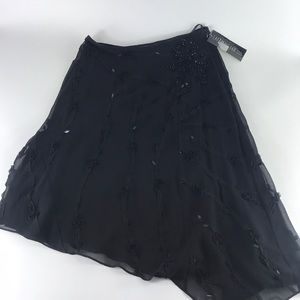 Lafayette 148 Black Silk Textured Skirt Petite 2